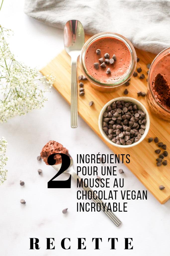 Epingle Pinterest : Recette de mousse au chocolat vegan qui nécessite seulement deux ingrédients.