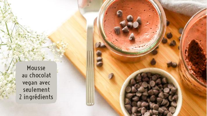 Mousse au chocolat vegan ultra gourmande avec seulement deux ingrédients