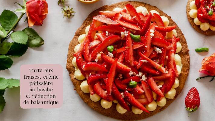 Tarte aux fraises, crème pâtissière au basilic et réduction de balsamique
